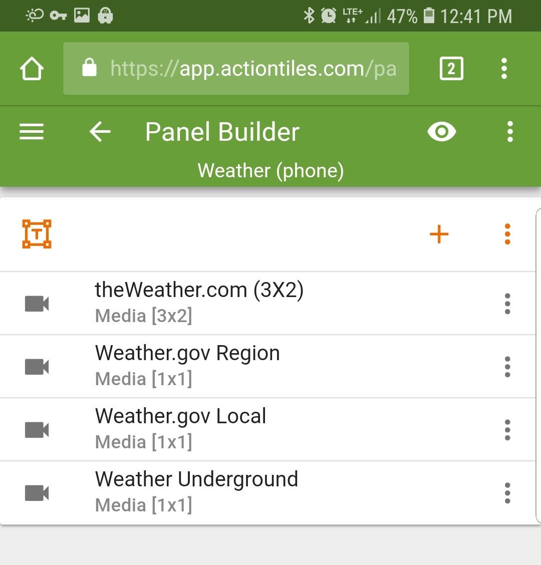 how to add weather tile to actiontiles